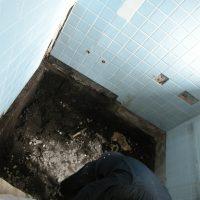 浴槽とタイルを解体すると、床は土でした。
